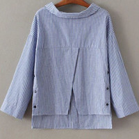 Blue Striped Split Front Button Back Top