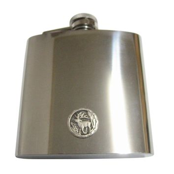 Round Stag Deer Pendant 6 Oz. Stainless Steel Flask