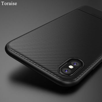 Toraise Soft TPU Case For iPhone X for iphone 8 Carbon Fiber Thin Silicone Case for iPhone 7 8 Plus Phone cover for iPhone 6s 6