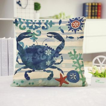 Crab Cotton Linen Pillow Cover