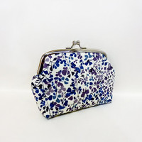 Metal Snap Pouch Coin Purse Small Pouch Liberty of London Purple and Blue Small Flowers
