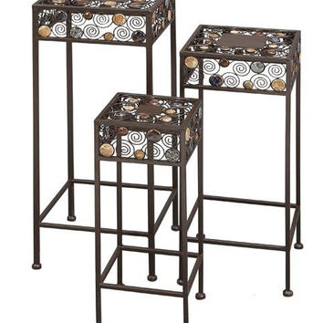 Set/3 Ceramic Metal Square Outdoor Patio Plant Stand