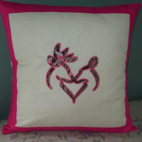 Buck and Doe Kissing, Embroidered Pillow Cover