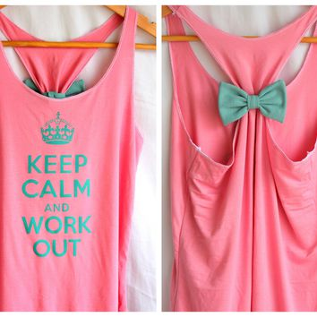 Keep Calm and Workout Bow Tanktop