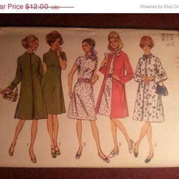 Uncut 1970's Simplicity Sewing Pattern, 9157! Size 12 Bust 34 Medium/Women's/Misses/Stand-up Collared Dress/Lined Coats/Short or Long Sleev