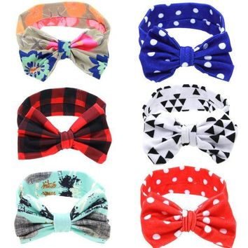 ESBON Newborn Flowers Print Floral Butterfly Bow Elastic Hair band Girls Turban Knot Headbands Children Headwear Baby Hair Accessories