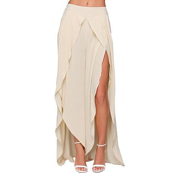 Plus Size Summer Women Irregular Skirts Pants Floor Length Female Casual Divided Skirt Chiffon Culottes Maxi Dovetail Skirts