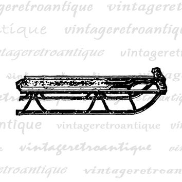 Sled Graphic Image Digital Winter Snow Download Printable Vintage Clip Art Jpg Png Eps  HQ 300dpi No.1363