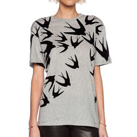 Simple Fashion Swallows Pattern Print Round Neck Short Sleeve Women T-shirt Tops
