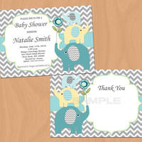 Baby Shower Invitation Elephant Baby Shower Invitation Boy Baby Shower Invitation Invites Teal (57y) -Free Thank You Card - Instant Download