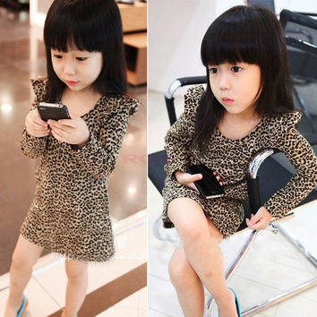 Kids Girl long Sleeves Round Collar Casual Leopard Party Skirt Dress Top 20077|26601 Children's Clothing = 1745554116