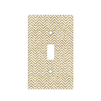 Gold and White Chevron Stripes Switch Plate Cover