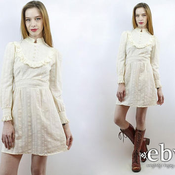 Babydoll Dress Victorian Dress Hippie Wedding Dress XS Hippie Dress Cream Dress Tuxedo Dress Dolly Dress 70s Dress Lolita Dress Hippy Dress