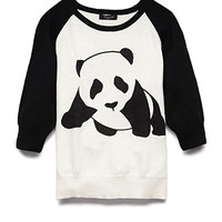 FOREVER 21 GIRLS Darling Panda Sweater (Kids) Cream/Black Medium