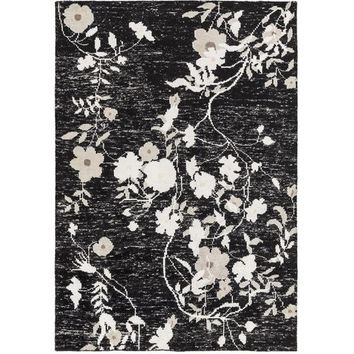 Lia Chinoiserie Black Floral Rug