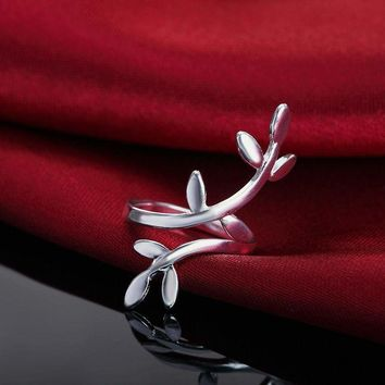 New Women Fashion Jewelry 925 Sterling Silver Adjustable Leaf Ring Thumb Finger