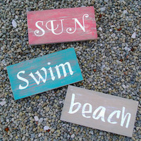 Set of 3, 5x10, Wood Signs, Sun, Swim, Beach, Home Decor, Beach Decor, Wall Art, Saying, Typography, Teal, Tan, Red, Hand Painted