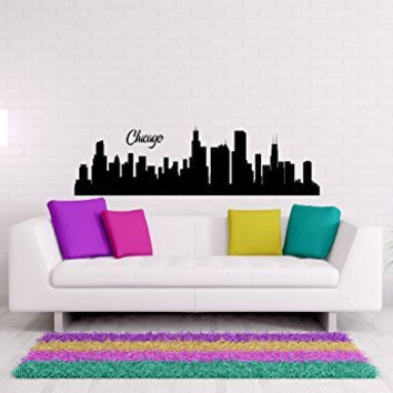 Chicago Skyline Vinyl Wall Words Decal Sticker Graphic