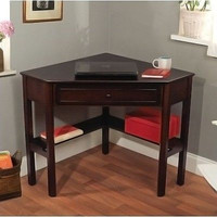 Espresso Corner Writing Desk Contemporary Computer Table Office Furniture Den