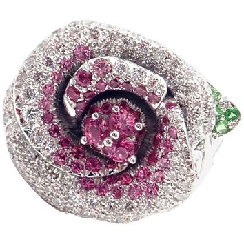 Christian Dior Bagatelle Flower Diamond Pink Sapphire White Gold Ring