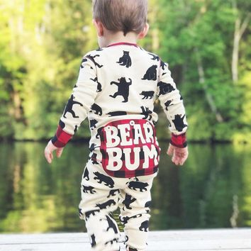 spring Infant new born baby boy clothes Cartoon Bear Letter Plaid Romper Jumpsuit Outfits baby Onesuit photography romper