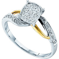 Diamond Fashion Bridal Ring in 10k White Gold 0.1 ctw