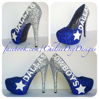 Dallas Cowboys Faded Glitter High Heels