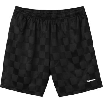 Supreme: Checker Soccer Short - Black