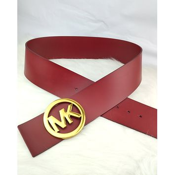 MK 2019 new women's metal ring letter buckle belt red
