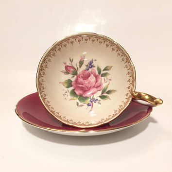Aynsley Red Rose Teacup, Vintage Pink Rose Teacup, Red Teacup and Saucer with Gold Trim