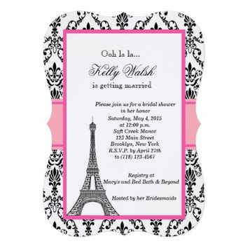 Eiffel Tower Damask Paris Bridal Shower Invitation