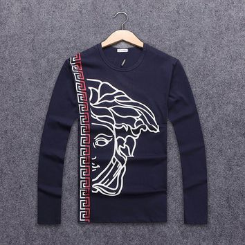 Versace Autumn Long Sleeve Tide Brand Men's Chest Classic Printed Round Collar Sweater Blue