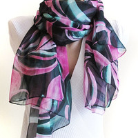 long chiffon scarf ,extra long scarf , green and purple scarf, scarves, chiffon scarves,