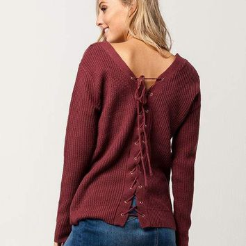 SKY AND SPARROW Grommet Lace Back Womens Sweater