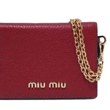 Mui Mui Fuoco Red Leather Credit Card Holder Wallet with Madras Chain 5MC320