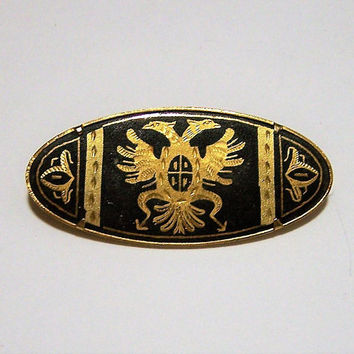 Damascene Double Headed Eagle Pin, Oval Gold Black Brooch, Spanish Jewelry 917