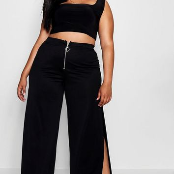 Plus O Ring Zip Wide Leg Trouser | Boohoo