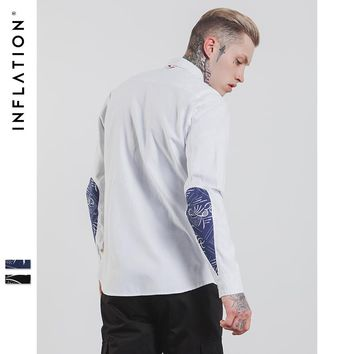 New Autumn Men Shirt Long Sleeves Printing White Color Long Sleeves Mens Shirts Casual Slim Fit