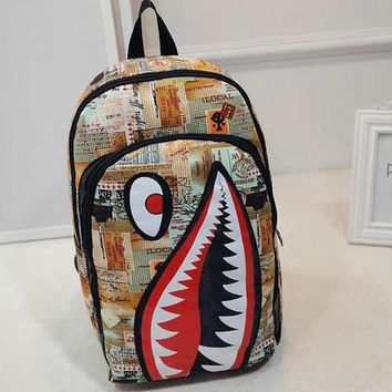 Student Backpack Children New Sleek Minimalist Backpacks Boy Girl Personality Shark Cartoon bag Travel Student bags  Shipping Sale AT_49_3