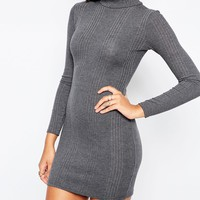Missguided High Neck Long Sleeve Rib Bodycon Dress at asos.com