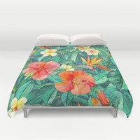 Classic Tropical Garden Duvet Cover by Micklyn