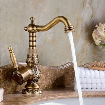 High Quality Luxury antique bronze copper carving Deck mounted kitchen faucet Bathroom basin faucet sink Faucet Mixer Tap