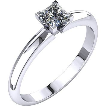 Certified Four Prong Solitaire 1/3Ct. Princess Cut Diamond Engagement Ring