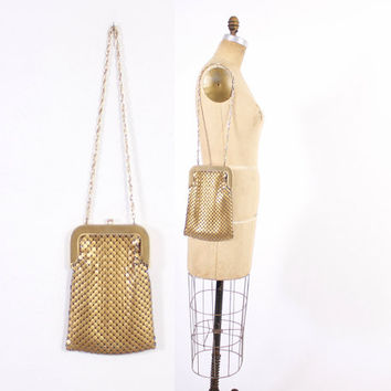 Vintage WHITING & DAVIS Purse / 1950s Matte Gold Large Metal Mesh Shoulder Bag