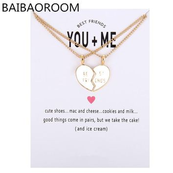 New Arrived glaze Friendship Broken Heart Best Friend You And Me Alloy Clavicle Pendant Necklace Jewelry