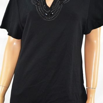 Karen Scott Women Short Sleeve Split Neck Cotton Black Embellished Blouse Top M