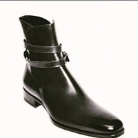 Handmade mens Jodhpurs boots, Mens fashion Black ankle high leather boots