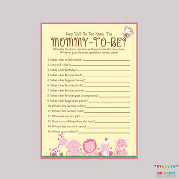 Safari Girl Baby Shower Printable How Well Do You Know the Mommy to Be Game - Who Knows Mommy Best? - Safari Shower Game Mommy Quiz BS0001-P