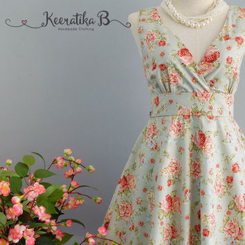 My Lady II - Pale Blue Floral Summer Dress Blue Floral Sundress Vintage Design Country Prom Dress Blue Floral Wedding Bridesmaid Dress XS-XL