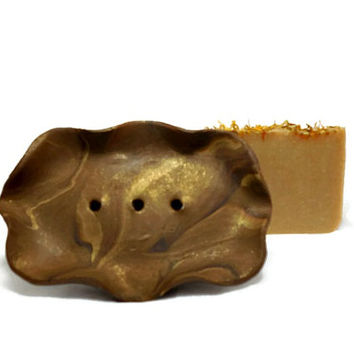 Brown Soap Dish, Draining Soap Dish, Polymer Clay Soap Dish, Gift under 10